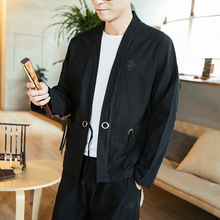 Plus Size 5xl Thin Sunscreen Cardigan Kimono Coat Autumn Vintage Cotton Linen Jacket For Men Long Sleeve Outerwear 2019