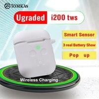 i200 TWS Aire 2nd Gen Bluetooth Earphones Smart Sensor Tap Control Earbuds Wireless Charging PK i800 i500 i100 i80 i60 i30 TWS