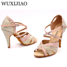 WUXIJIAO Branco, preto, sneakers Mulher Sapatos de Dança de Jazz Salsa Sapatos de Dança Latina Quadrados Sapatos de Dança de Strass Cor Fresca