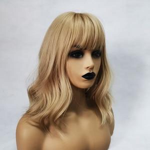Image 3 - ALAN EATON pelucas de pelo sintético para mujer, Peluca de pelo sintético ondulado rubio con flequillo, Cosplay de Lolita