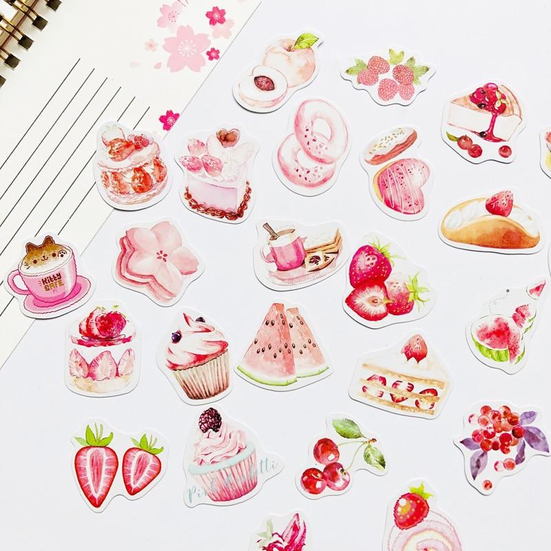 50pcs /Box Sweet Pink Mousse Cake Strawberry Cherry DIY Sticker Stick Label Diary Decor