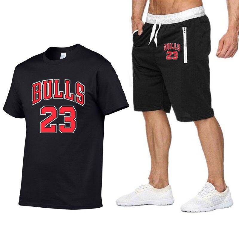 New Bull 23  T Shirt Shorts Sets Men Letter Printed Summer Suits Casual Tshirt Men  Brand Clothing Streetwwar Tops  Set Male XXL