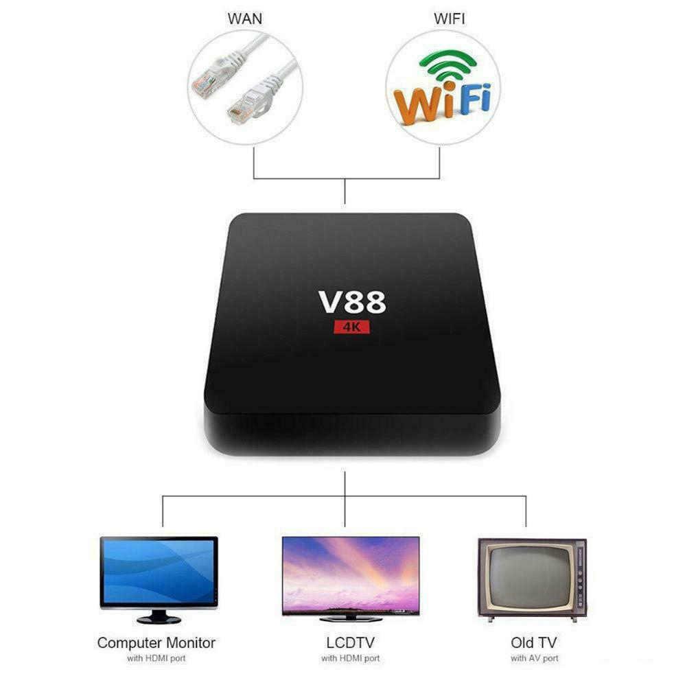 V88 TV Box Rockchip 3229 Quad Core 4K H.265 1GB DDR3 RAM 8GB EMMC ROM Mini PC Android décodeur Android 7.1.2 Smartbox