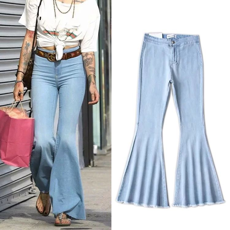 2020 Ladies Denim High Waist Flare Jeans Boyfriend Jeans for Women Skinny Womans Pants Female Wide Leg Mom Jeans Black Blue
