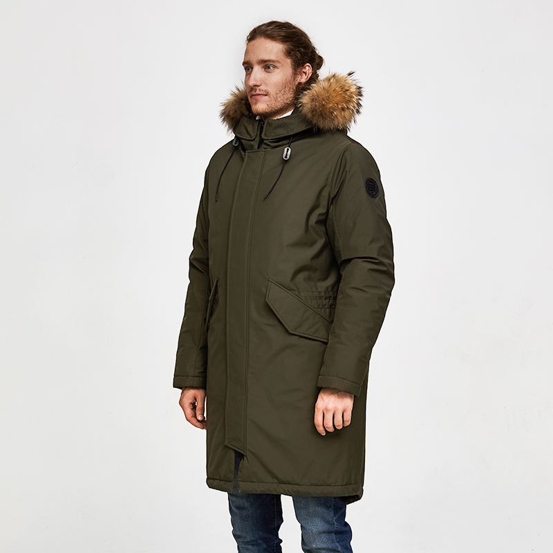 Domple Mens Fashion Thicken Solid Winter Cotton Flap Pockets Hooded Middle Length Down Jacket