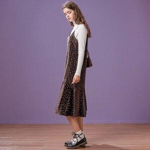 Image 2 - Metersbonwe 긴 니트 계층화 된 여성 스파게티 스트랩 스웨터 드레스 벨벳 빈티지 가을 겨울 드레스 여성 드레스