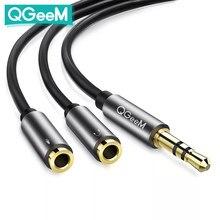 QGeeM – câble séparateur Audio 3.5mm, pour prise d'ordinateur 3.5mm, 1 mâle à 2 femelles, câble auxiliaire, adaptateur séparateur de casque