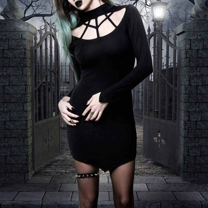 2019 новейшее готическое темное женское платье черное открытое тонкое с длинными рукавами сексуальное Вечерние Короткое облегающее платье Весна Осень панк уличная