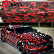 Glossy Red Black Grey Camouflage Vinyl Car Wrap Foil With Air Release Bubble Free Film DIY Styling Sticker Car Body Wrapping(China)