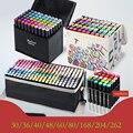 Touchcool caneta marcadora de esboço de cor 262, arte de desenho de álcool manga, conjunto de canetas de ponta dupla, material de arte corporal preto artista artista