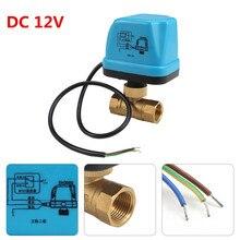 220 فولت 12 فولت الكهربائية بمحركات صمام كروي خيطي تكييف الهواء نظام المياه تحكم 2 way 3 wire 1.6Mpa DN15 DN20 DN25