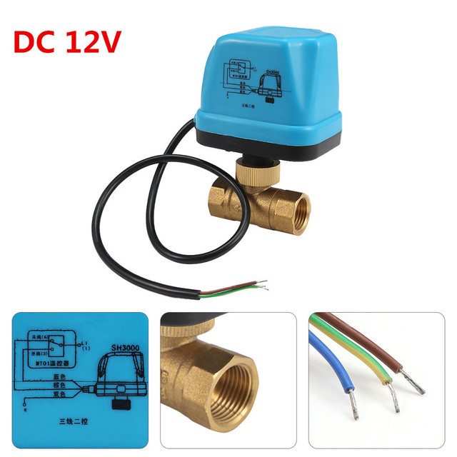 220V 12V Electric Motorized Thread Ball Valve Air conditioning Water System Controller 2 way 3 wire 1.6Mpa DN15 DN20 DN25