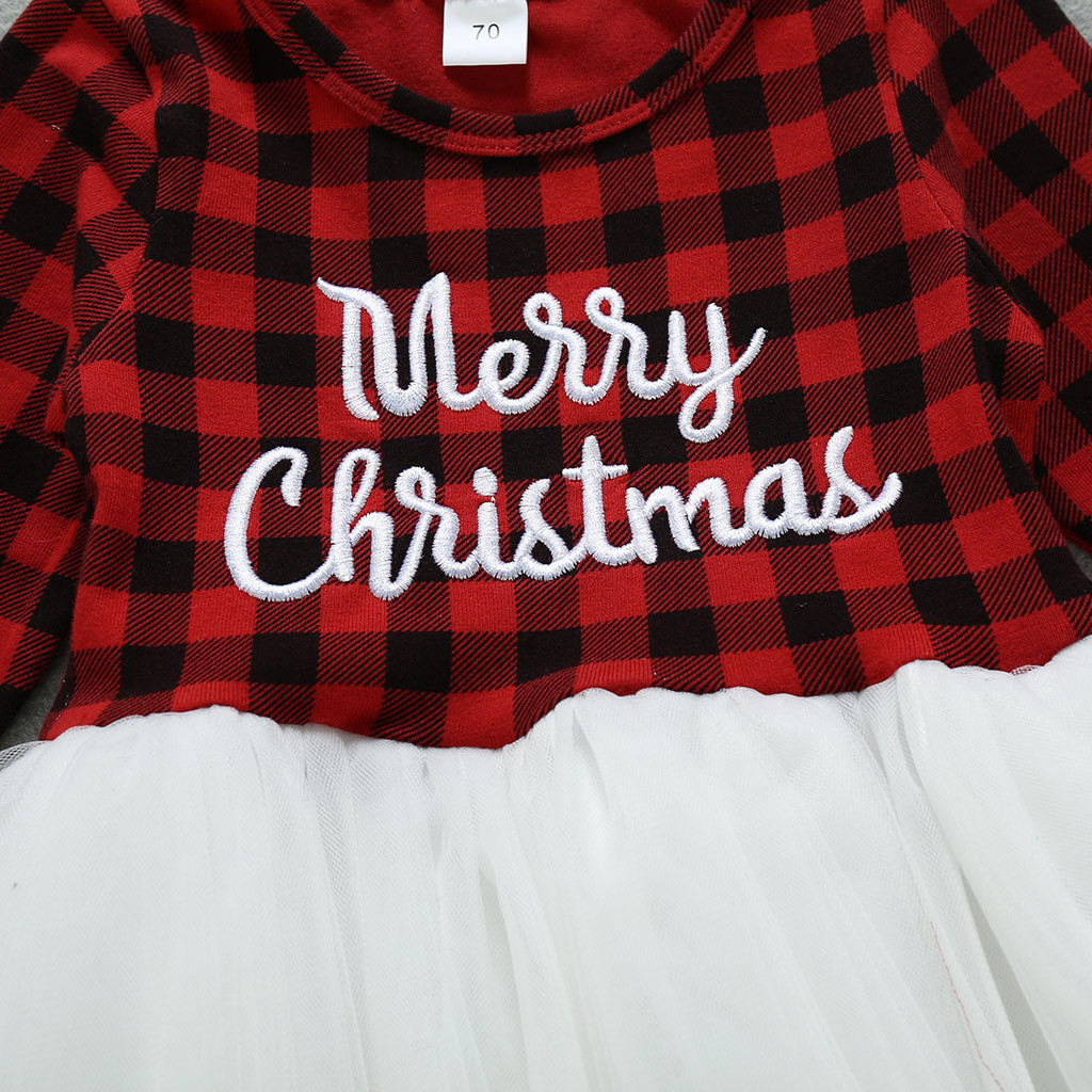 Xmas Toddler Kids Girls Christmas Santa Plaided Princess Dresses Outfits Clothes