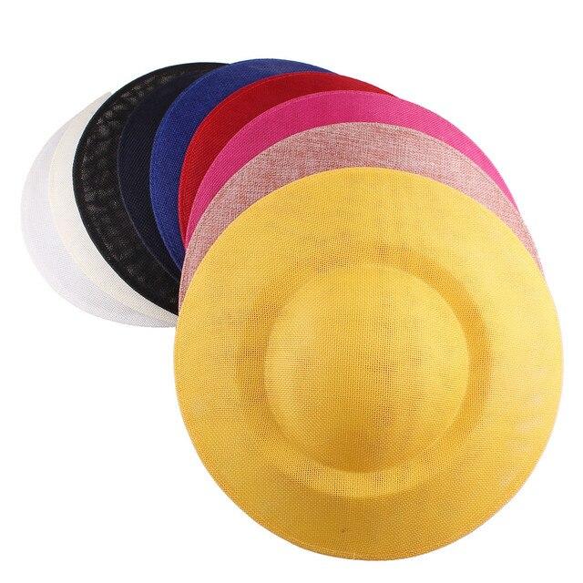 Base ronde de 27 CM pour accessoires cheveux bricolage   Pour fête de mariage, chapeaux fascinateurs de mariée en une pièce, de couleur jaune marine, au détail