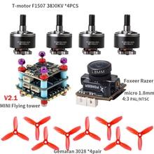 T Motor F1507 3800KV Motor Foxeer Razer Micro Gemfan 3028 Props MINI Flying Tower V2.1 for RC Drone FPV Racing CineWhoop BetaFPV
