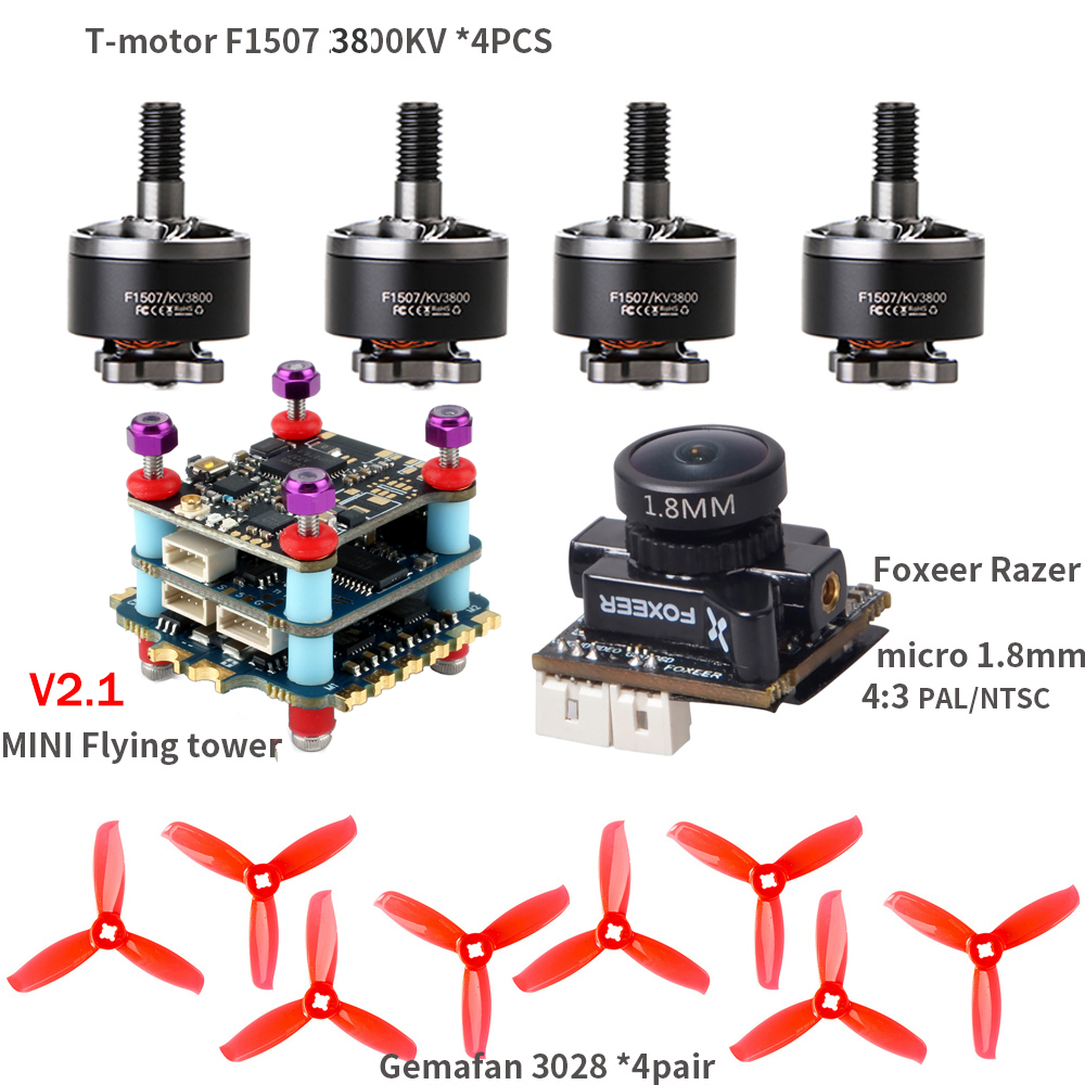 T-<font><b>Motor</b></font> F1507 <font><b>3800KV</b></font> <font><b>Motor</b></font> Foxeer Razer Micro Gemfan 3028 Props MINI Flying Tower V2.1 for RC Drone FPV Racing CineWhoop BetaFPV image