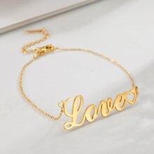 Bracelet à breloques en forme de cœur, plaqué or Rose, en acier inoxydable, pour femmes, cadeaux d'amitié, bijoux en lettres