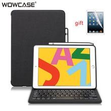 Capa de tablet para ipad, 10.2 2019 bluetooth, teclado com suporte de lápis, capa inteligente, para ipad 7a geração 10.2 funda