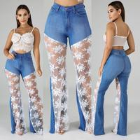 Sexy Wide Leg Pants Women Sheer Mesh Lace Patchwork Denim Pants Casual Loose High Waist Pants Jeans Party Trousers