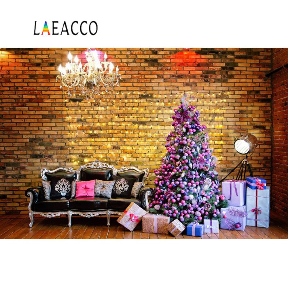 Laeacco Photography Backdrops Christmas Tree Brick Wall Sofa Gift Chandelier Kids Portrait Photocall Photo Studio