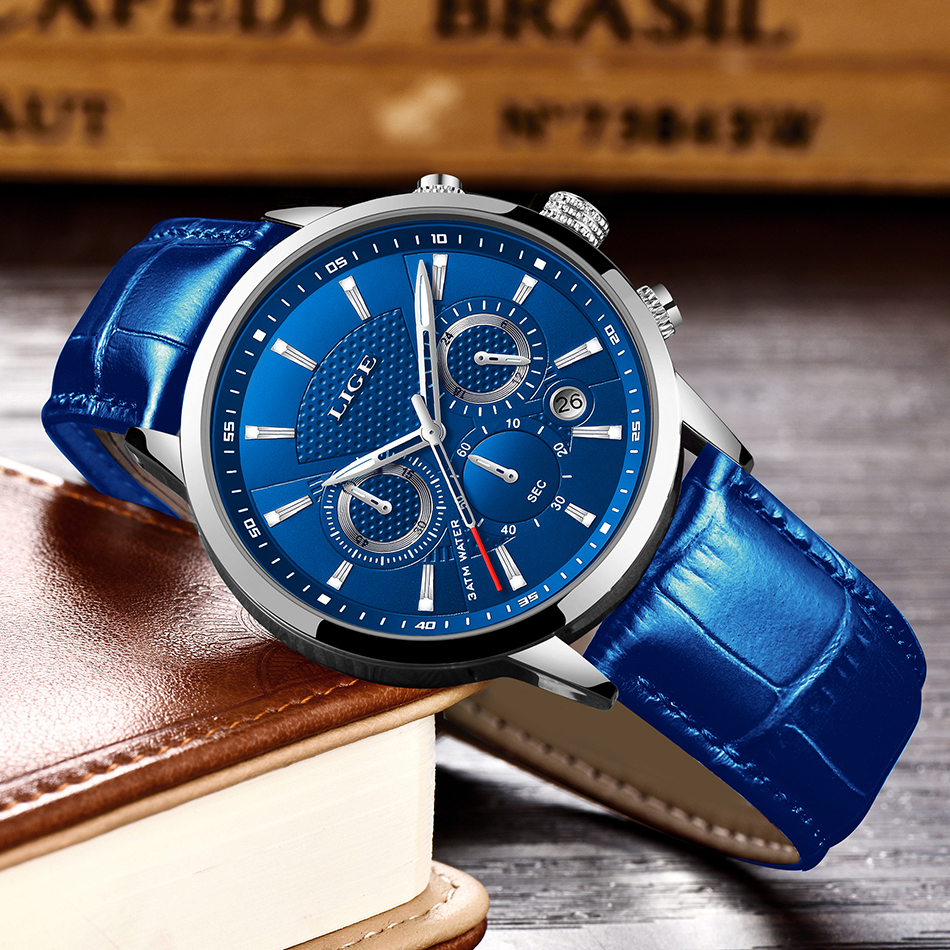 H60704230407c43b5ad448c1407afe6e0X LIGE Fashion Mens Watches Top Brand Luuxury Blue Quartz Clock Male Casual Leather Waterproof Sport Chronograph Relogio Masculino