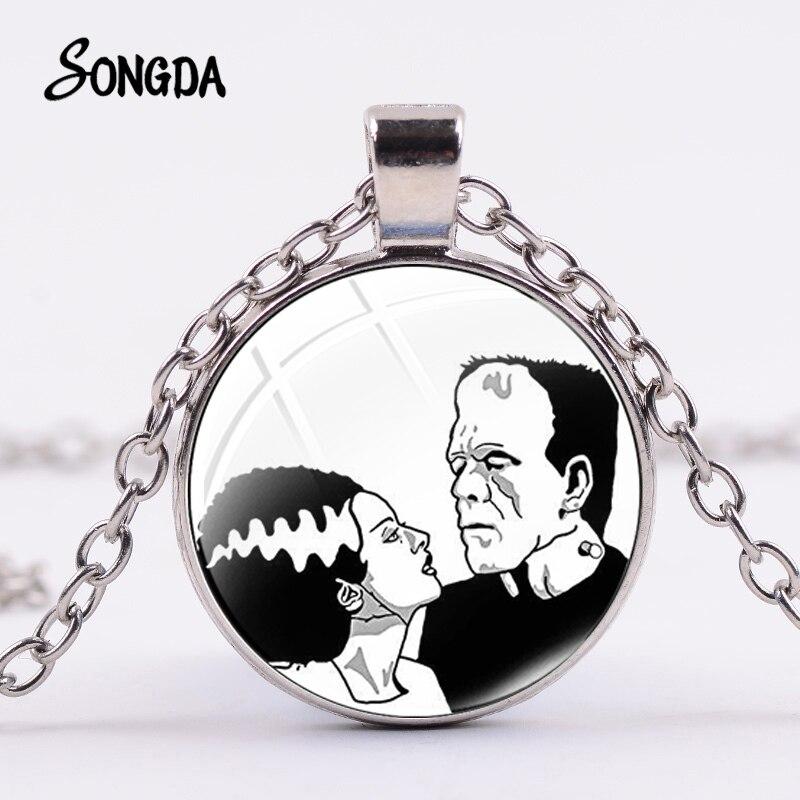 Abstrakte Frankenstein und Seine Braut Foto Halskette Handmade Silber Farbe Anhänger Traditionellen Frankenstein Glas Schmuck
