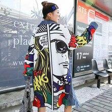 New Long Denim Trench Coat Women Plus Size Loose Print Antumn Jean Hip Hop Streetwear Girls Cardigan Outwear Tops