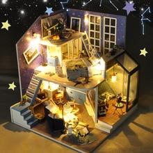 Electric LED Light Creative DIY House Craft Model Kids Toy Handmade Art  Romantic Beauty Landscape Model Toys For Children