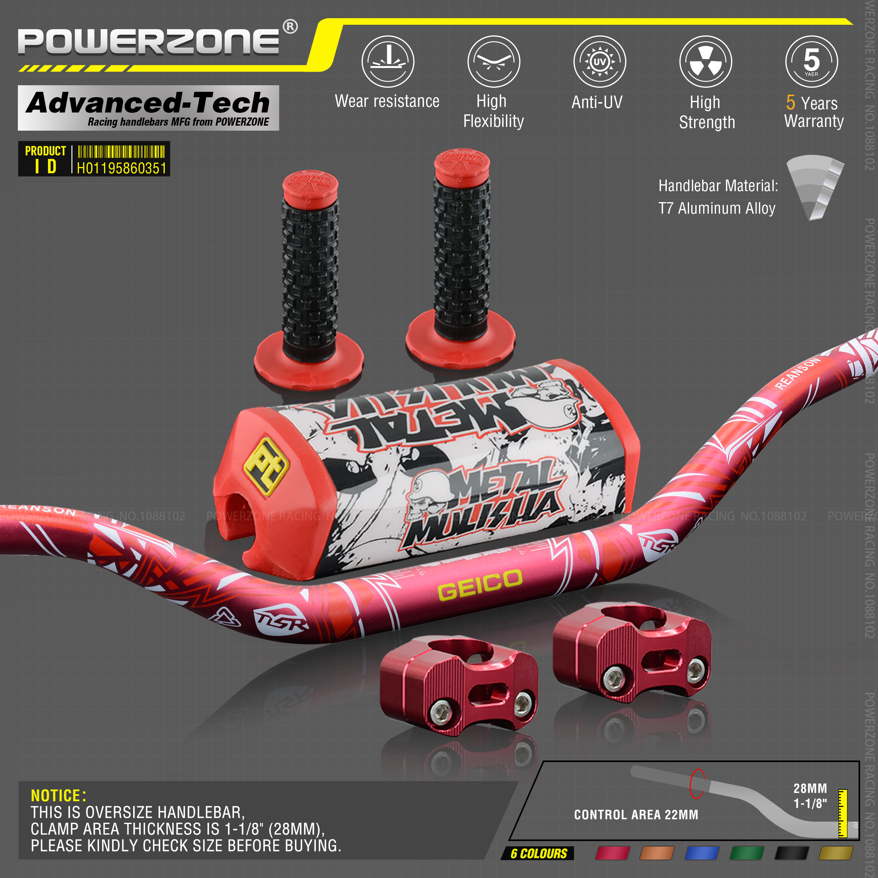 "Handlebar For Pro Taper Pack Bar 1-1//8/"" Pads Grips Pit Pro Racing Dirt Pit Bike"