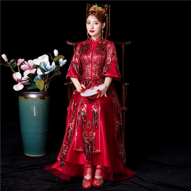 Bridesmaid Dresses Long Limited Toast The New 2020 Suits Chinese Wedding Dress Sewing Clothes Xiuhe Summer Clothing Cheongsam
