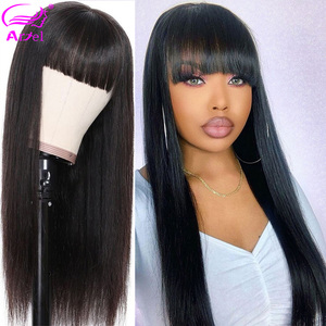 Image 3 - Long Wigs Straight Lace Front Human Hair Wigs With Bangs Full Machine Made Wig Bob Wig With Bangs Remy Brazilian Wigs With Bangs