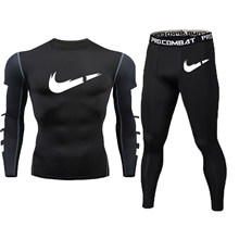 High Quality GYM Suit Men Jogging Compression Fitness Trainde Tracksuit Running Bicycle Sport Dry Fit Men Clothing MMA Rashguard(China)