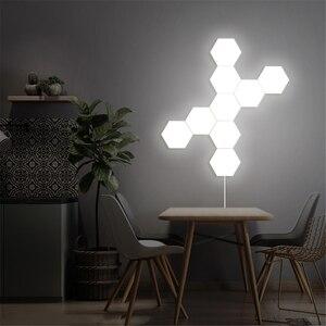 Image 5 - Lampe quantique moderne, éclairage sensible au toucher, lumière de la nuit, Hexagons magnétiques, décoration lampara murale pour le mariage de Restaurant