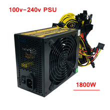 Mining Rig PC 1800W Power Supply Computer Asic Bitcoin Monero CryptoNote Miner ATX PSU 100-240v For RX470 480 570 6/8 GPU Card F