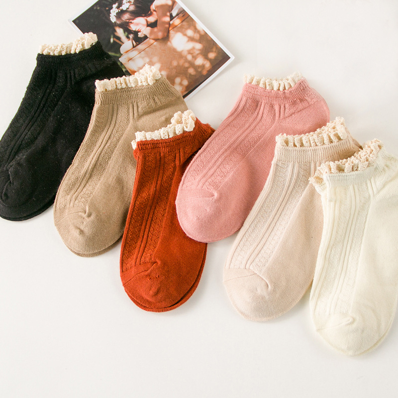 2020 Trendy Sweet Style Lace Women Soft Cozy Socks Harajuku Ladies Girls Pure Candy Color Cotton Casual Short Ankle Socks Hose
