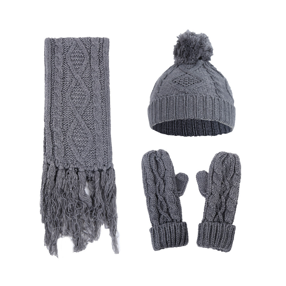 Women's Rhombic Twist Knitted Wool Hat Scarf Gloves Three-piece Outdoor Warm Winter Unisex Solid Color Acrylic Multi-piece