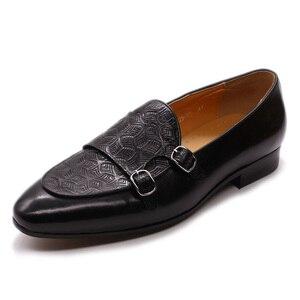 Image 4 - FELIX CHU Classic Monk Strap Mens Loaferหนังแท้สุภาพบุรุษงานแต่งงานCasualรองเท้าสีดำผู้ชายชุดรองเท้า