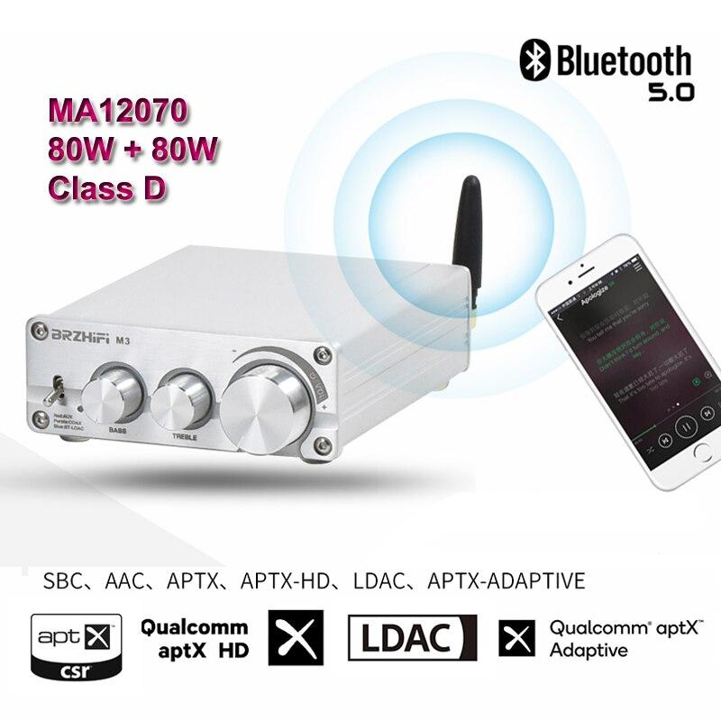 2*80 Вт Bluetooth 5,0 LDAC QCC5125 Infineon MA12070 цифровой аудио усилитель мощности 2,0/2,1 Сабвуфер HiFi стерео усилитель класса D Aux
