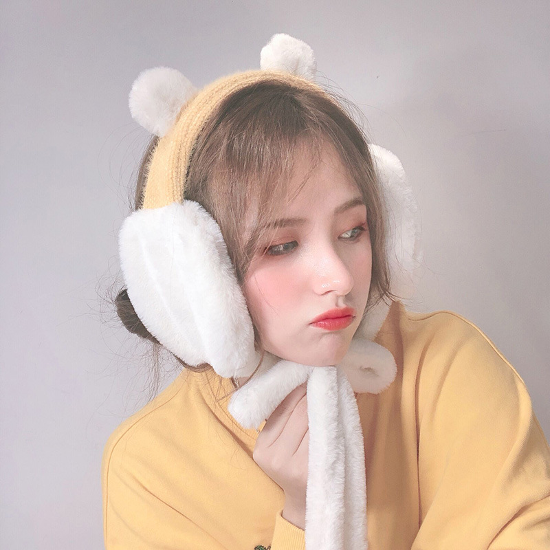 Lovely Cartoon Plush Fluffy Winter Earmuff Women Winter Lace Up Faux Fur Girls Ear Muffs Soft Thick Ear Warmers 2019 New Fashion