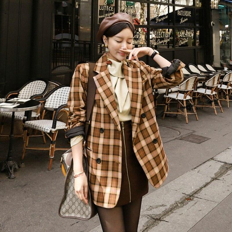 Drop Shipping Elegant Fashion Women Blazer Streetwear Double-breasted Female Jacket Vintage Plaid Women Suit Coat Outwear Femme