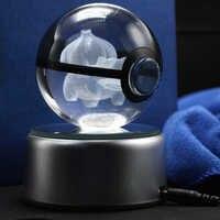 Cadeaux de noël chauds cristal Bulbasaur gravure 3D boule verre Pokemon aller balle presse-papiers pour enfants cadeaux d'anniversaire