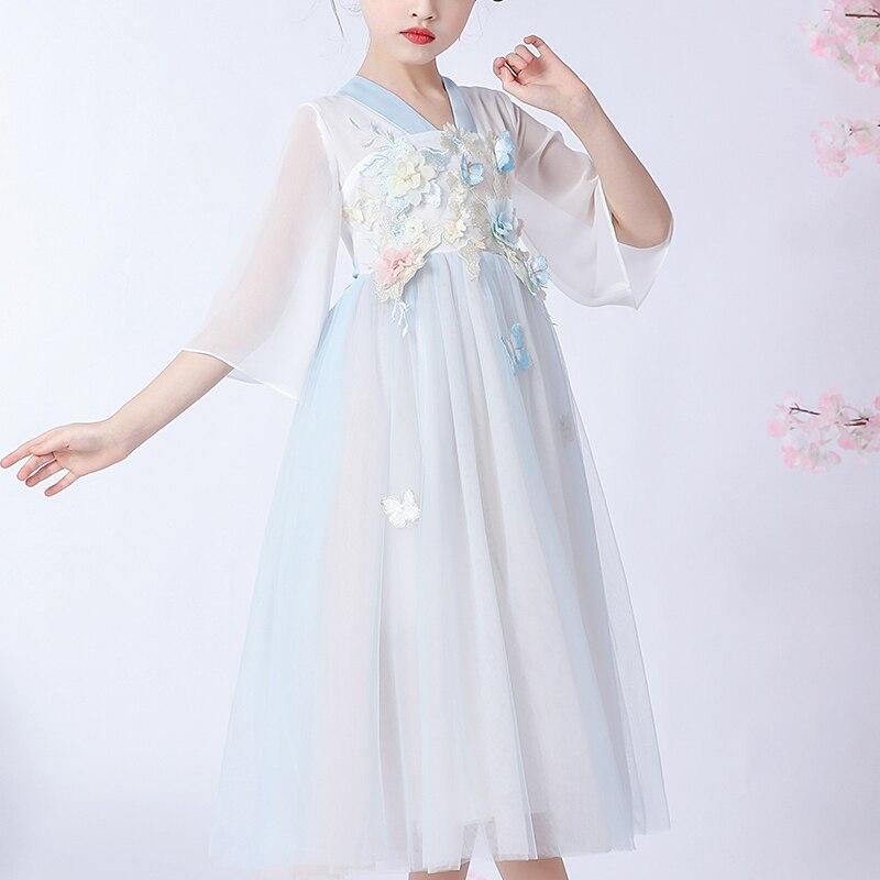 Meninas vestido borboleta estilo chinês hanfu festa vestido de ano novo chinês princesa vestido da menina de verão das crianças vestido nacional 1274