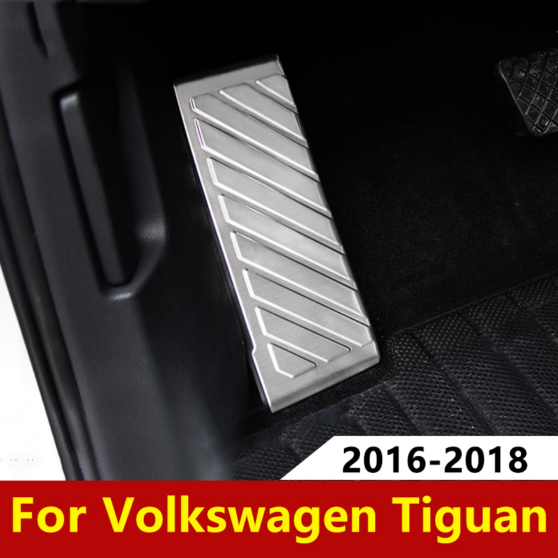 For Volkswagen VW <font><b>Tiguan</b></font> mk2 2016 2017 2018 <font><b>2019</b></font> Stainless Steel Car Left Foot Rest Pedal Non-Slip Pad Protection <font><b>Accessories</b></font> image