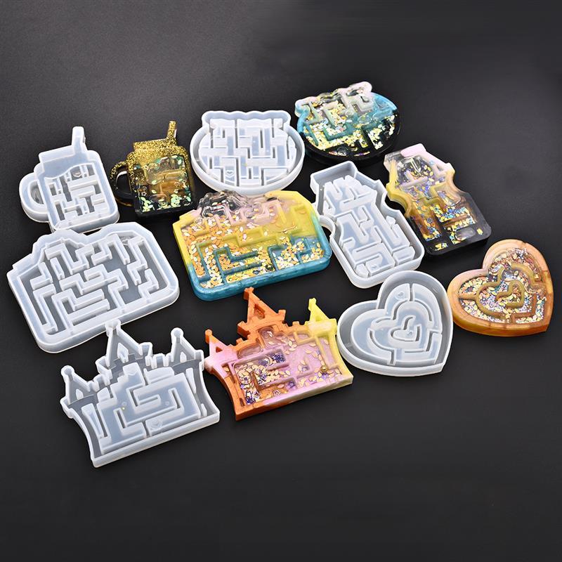 Quicksand Maze Silicone Mold Shaker Molds Milk Bottle Heart Shape UV Epoxy Resin Mold Heart Keychain Pendant Craft Jewelry Tools