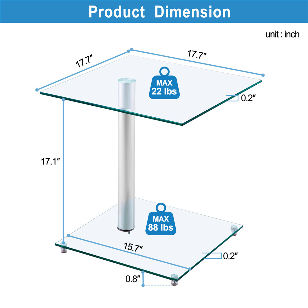 Home Side Tables Furniture Clear Glass End Table Living Room Table 2 Tier Square Glass Minimalist Office Magazine Storage Shelf - 3