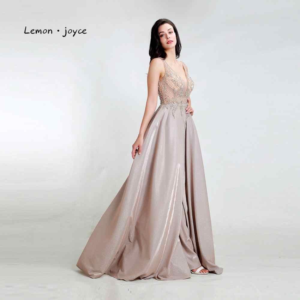 Женское блестящее вечернее платье Lemon joyce, зеленое блестящее платье из Дубая с v-образным вырезом, для выпускного вечера, 2020, размера плюс
