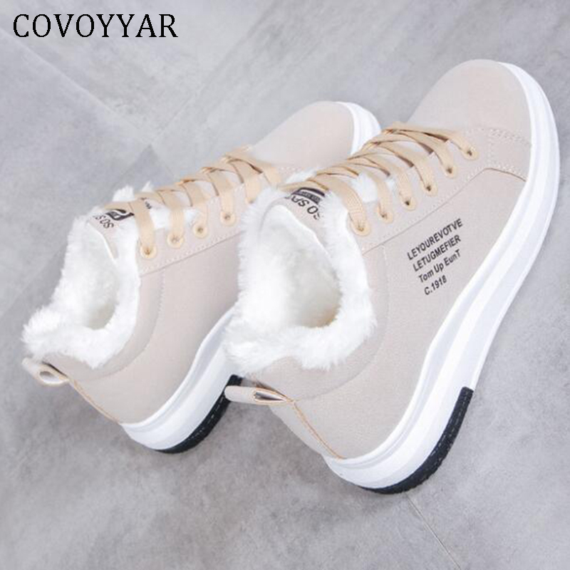 COVOYYAR 2019 Winter Women Shoes Warm Fur Plush Lady Casual Shoes Lace Up Fashion Sneakers Platform Snow Boots Big Size WSN324