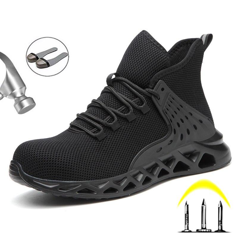 2020 дышащая Для мужчин, безопасная обувь Сталь металлический носок Защитная сапоги мужские рабочие кроссовки с защитой от проколов-доказате...