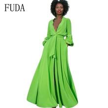 FUDA High-end Temperament Women Dress Sexy Turn-down Neck Split Loose Elegant Bandage Maxi Femme New Fashion Party Dresses