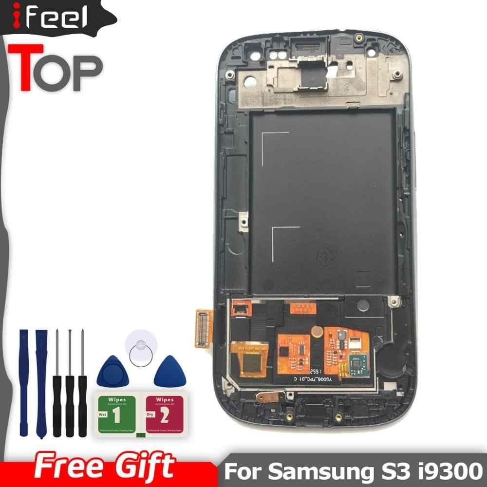S3 ЖК экран для Samsung Galaxy i9300 дисплей сенсорный дигитайзер Замена с рамкой 4 8 дюйма